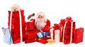 Santa Clause holding gift. Royalty Free Stock Images