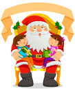 Santa clause and kids with two on his lap an empty label on top Stock Images
