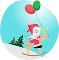 Santa Clause riding a balooon-deer Stock Image