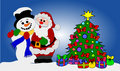 Santa Clause and Snowman Stock Photos