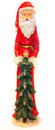 Santa Claus Statue with Christmas Tree White Background Clear