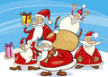 Santa clauses group Stock Images