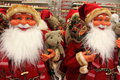 Santa clauses smiling from toy store Stock Photography