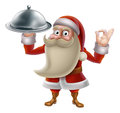 Santa cooking christmas food claus character dinner cartoon in an holding a silver platter and doing a perfect gesture Royalty Free Stock Photography