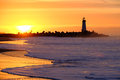 Santa Cruz Breakwater Light Walton Lighthouse at sunrise Royalty Free Stock Photo