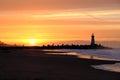Santa Cruz Breakwater Light Walton Lighthouse at sunrise Royalty Free Stock Photo