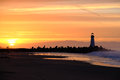 Santa Cruz Breakwater Light & x28;Walton Lighthouse& x29; at sunrise Royalty Free Stock Photo