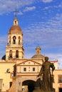 Santa cruz convent ii with missionary statue city of queretaro mexican state of queretaro Royalty Free Stock Photos