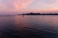 Santa Cruz at Sunset from the Ocean Royalty Free Stock Photo