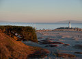 Santa cruz walton lighthouse at the marina entrance ocean beach and in on a late afternoon Royalty Free Stock Photos