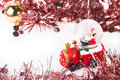 Santa crystal snow ball on christmas background and white Royalty Free Stock Photo
