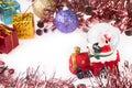 Santa crystal snow ball on christmas background and white Stock Photo