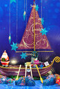 Santa on decorated boat Stock Photography