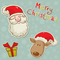 Santa and deer cartoon Christmas greeting card Stock Photo