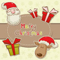 Santa and deer cartoon Christmas greeting card Royalty Free Stock Photography