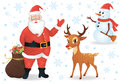 Santa and deer a a snowman on white Stock Photography
