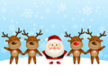 Santa with deers on winter background Royalty Free Stock Image