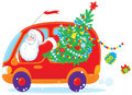 Santa drives with Christmas tree Royalty Free Stock Photo