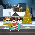 Santa Driving Scooter With Pine Tree, Merry Christmas And Happy New Year Greeting Card Winter Holidays Concept Banner