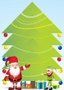 Santa and elf with Christmas tree   - Illustration Royalty Free Stock Photo