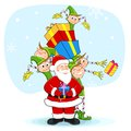 Santa with Elf distrubiting Christmas Gift Royalty Free Stock Photography