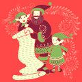 Santa and Elf with gift in Merry Christmas Holiday celebration background Royalty Free Stock Photo