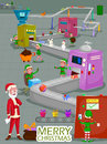 Santa and Elf making gift for Merry Christmas holiday greeting card background Royalty Free Stock Photo