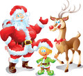 Santa with elf and reindeer illustration Royalty Free Stock Image