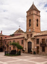 Santa eulalia monastery hotel spain courtyard and clock tower of the histtoric in totana converted for use as a murcia Royalty Free Stock Photo