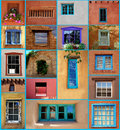 Santa fe windows a collection of unusual window styles found in and around new mexico Stock Image