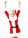 Santa femal Excited Foto de Stock Royalty Free
