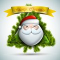 Santa with fir branches christmas icon eps vector illustration Royalty Free Stock Images
