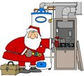Santa Fixing A Furnace Royalty Free Stock Images