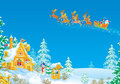 Santa flies in the sledge with reindeers Royalty Free Stock Photos