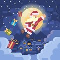 Santa fly to your home with gift to celebrate merry christmas premium vector design