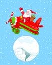Santa flying his christmas plane Fotos de archivo libres de regalías