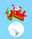 Santa flying his christmas plane illustration of over the earth Royalty Free Stock Photos