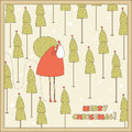 Santa in the forest christmas card vector illustration Royalty Free Stock Image