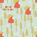Santa in the forest christmas seamless pattern vector illustration Stock Photos