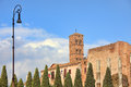 Santa francesca romana church ancient columns rome italy Royalty Free Stock Image