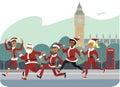 Santa fun run people characters participants of race marathon Royalty Free Stock Images
