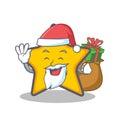 Santa with gift star character cartoon style