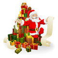 Santa with gifts list Royalty Free Stock Images