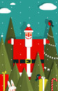 Santa with gifts and presents in woods vector eps graphic christmas illustration Stock Image