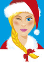 Santa girl beautiful close up illustration Stock Photo