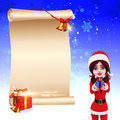 Santa girl with big sign on blue background Stock Photography