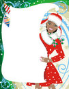 Santa girl with blank banner Stock Image