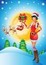 Santa girl with christmas background