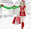 Santa girl with christmas gifts vector illustration of Royalty Free Stock Photography