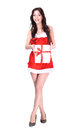 Santa girl with christmas gifts on a white background Royalty Free Stock Photos